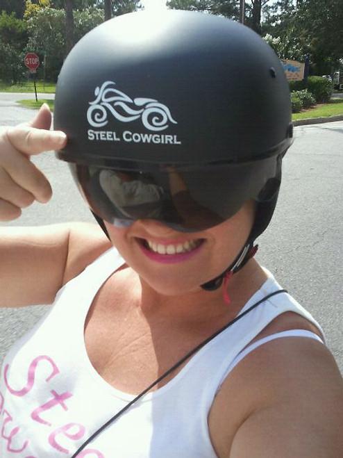 Steel Cowgirl Womens Motorcycle Window Decal - Pink motorcycle helmet decals