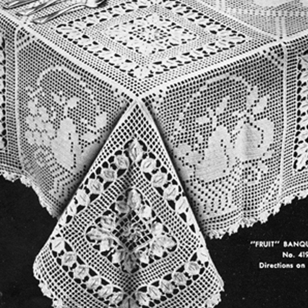 Fruit Filet Crochet Tablecloth Ensemble Pattern No 4195