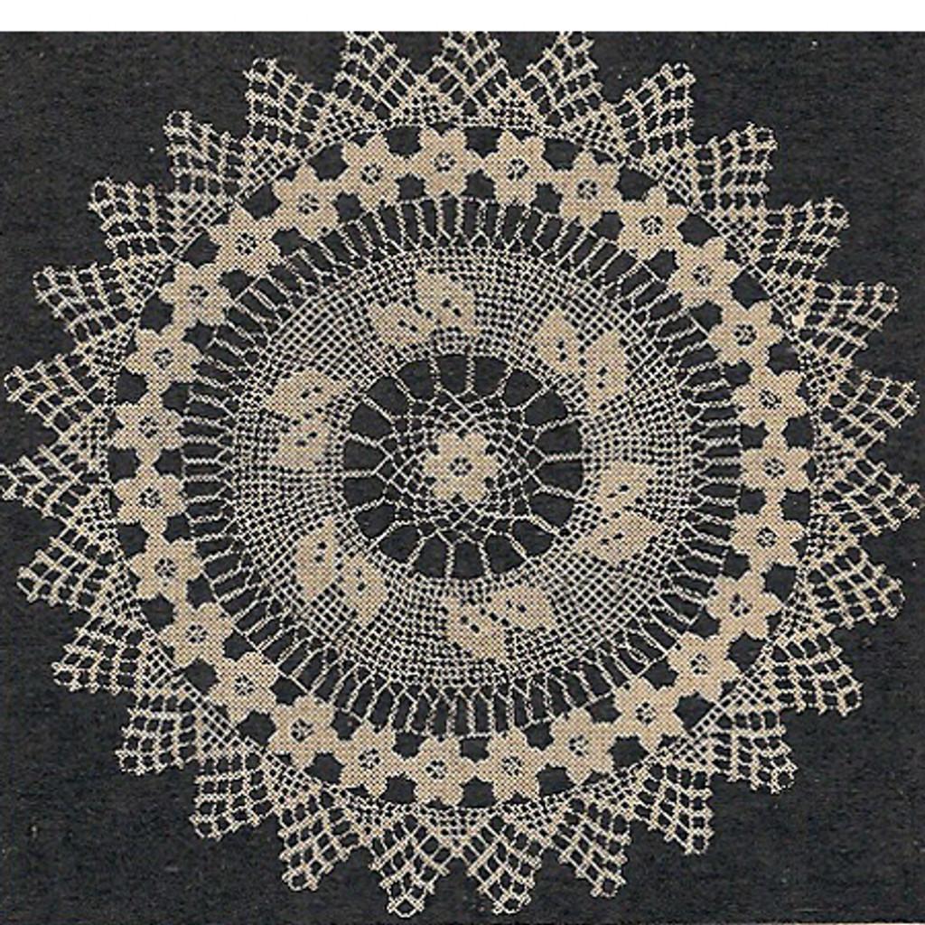 Filet Crochet Rose Doily Pattern Small Large