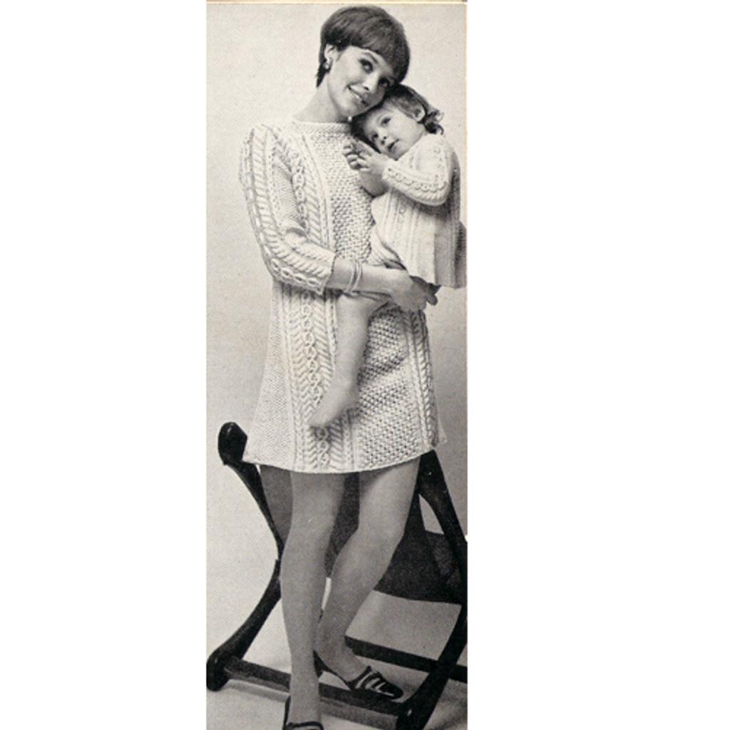 Vintage Aran Knit Sweater Dress Pattern