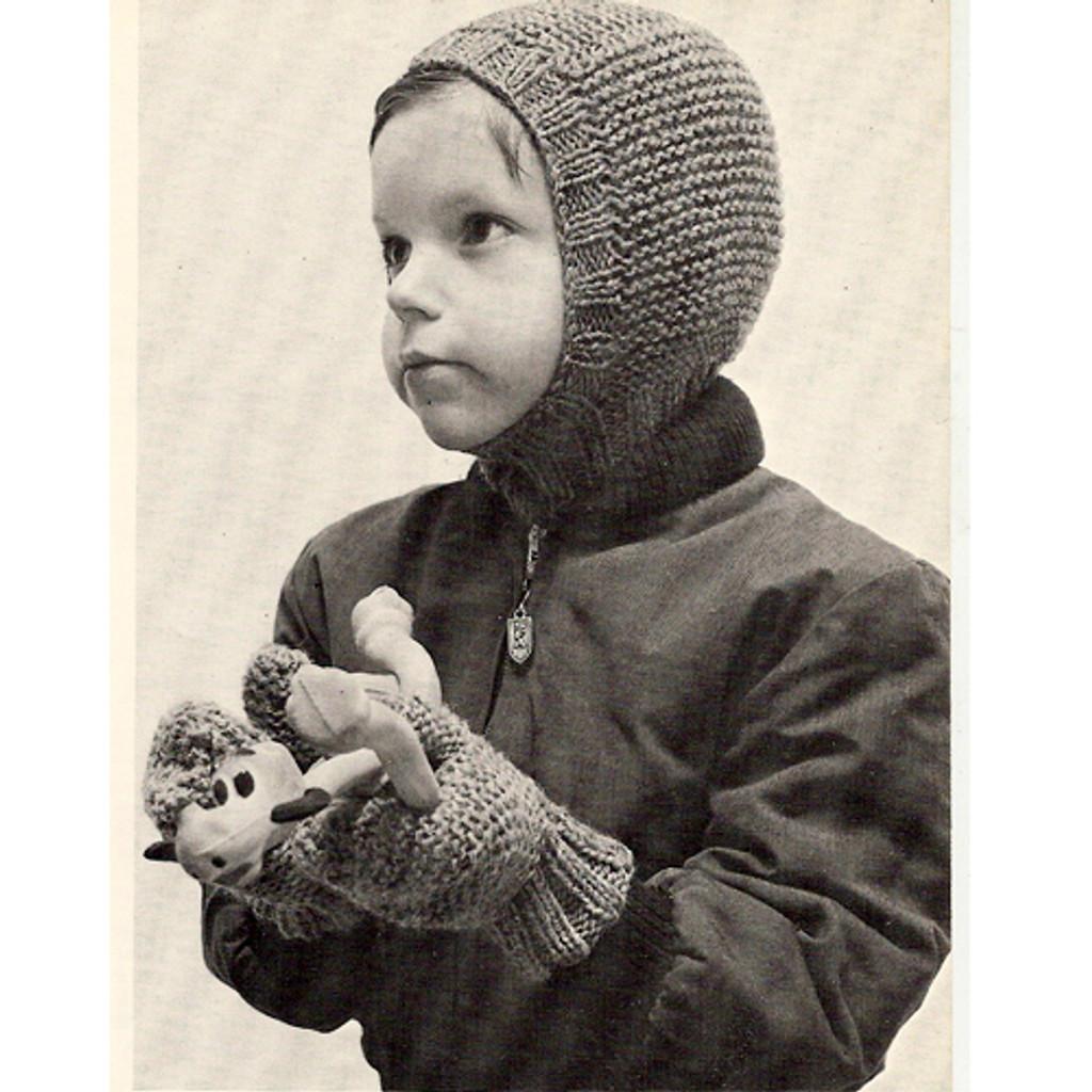 Childs Knitted Helmet Hood Mittens Pattern