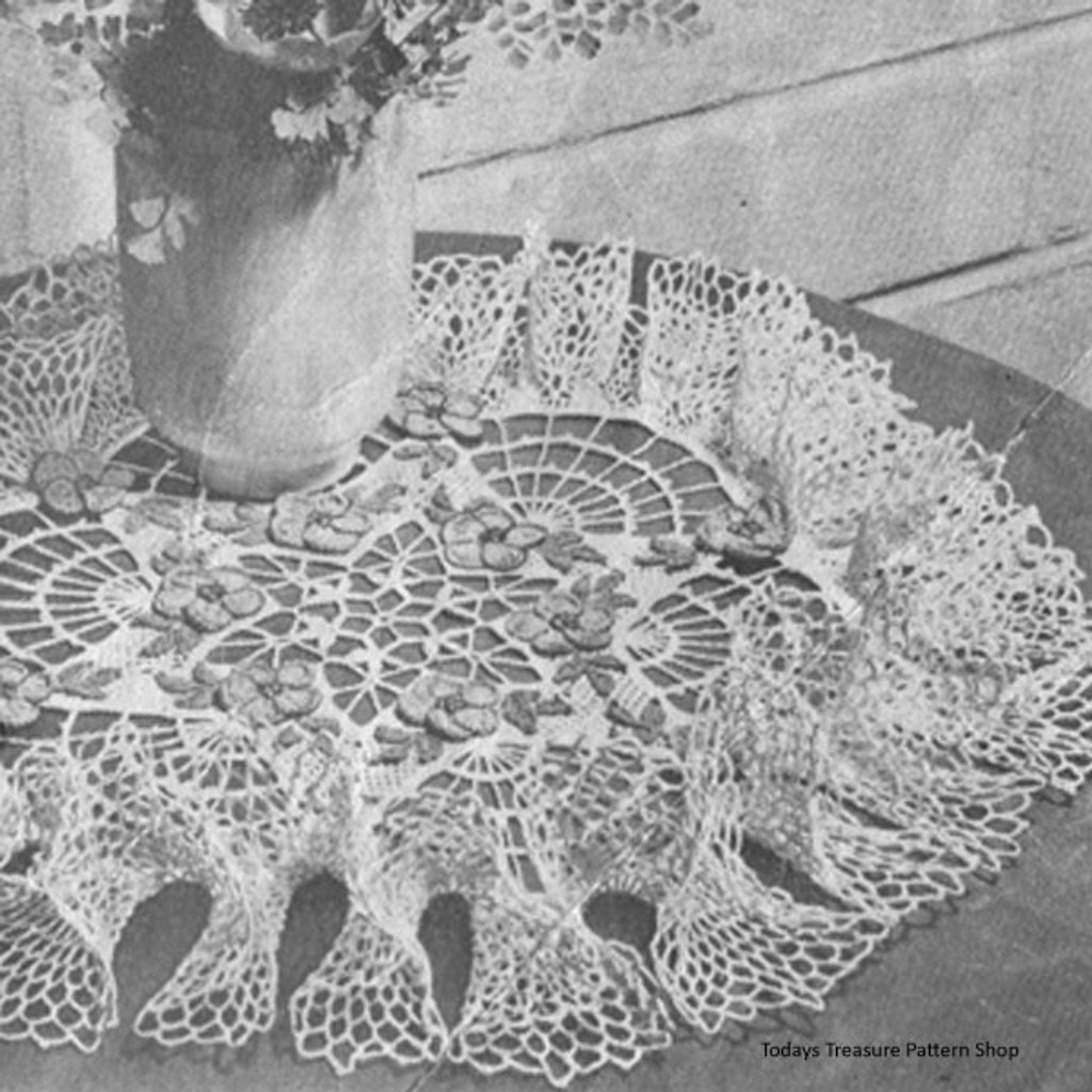 Vintage Crochet Ruffled Doily Pattern Rock Rose