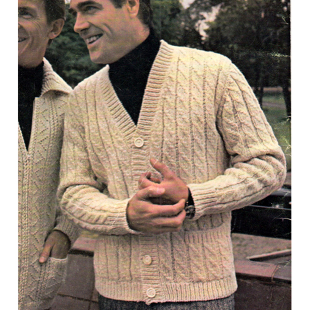 Mens Cabled Cardigan Knitting Pattern Size 36 To 46