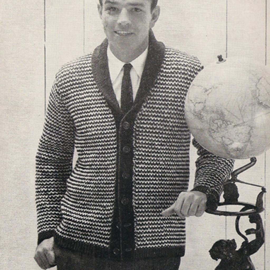 Mans Shawl Collar Cardigan Knitting Pattern S M L