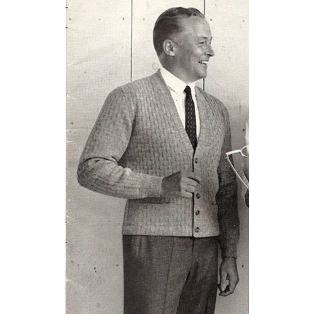 Mens Knitting Pattern Cardigan Jacket Waffle Weave