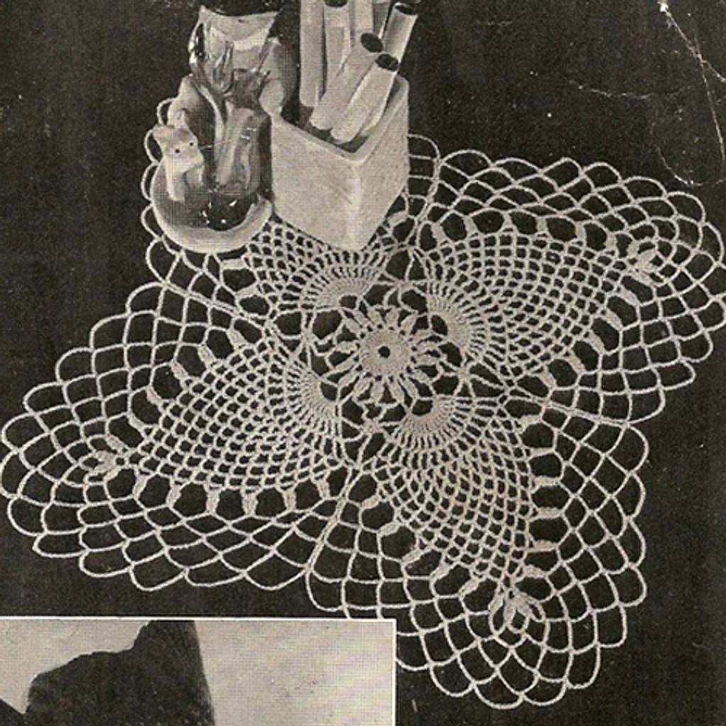 Crocheted Cloverleaf Doily Crochet Pattern