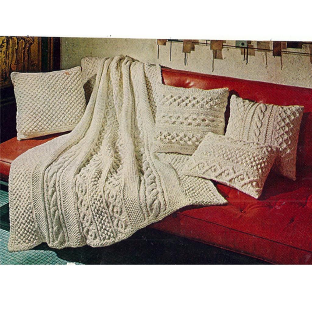 Knitted Aran Afghan Throw Pillows Pattern