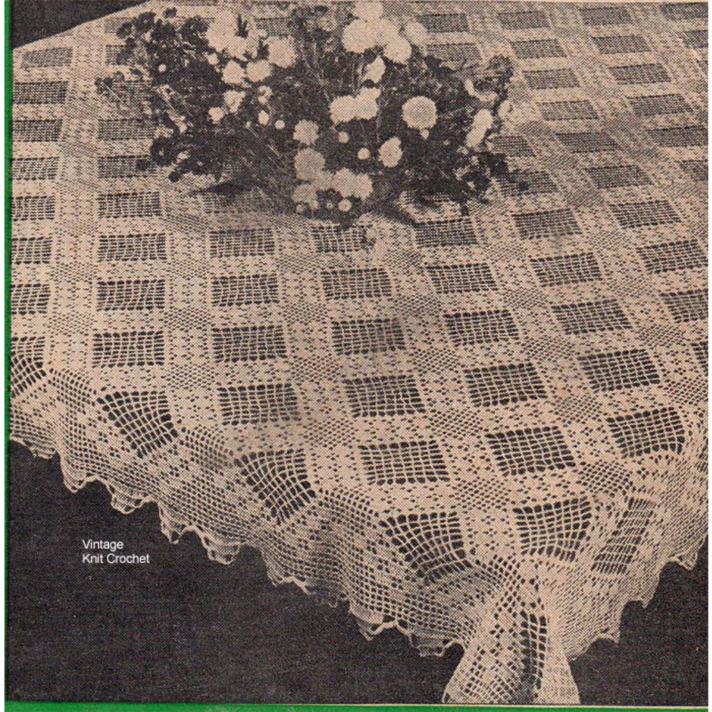 Diamond Medallion Filet Crochet Tablecloth Bedspread Pattern