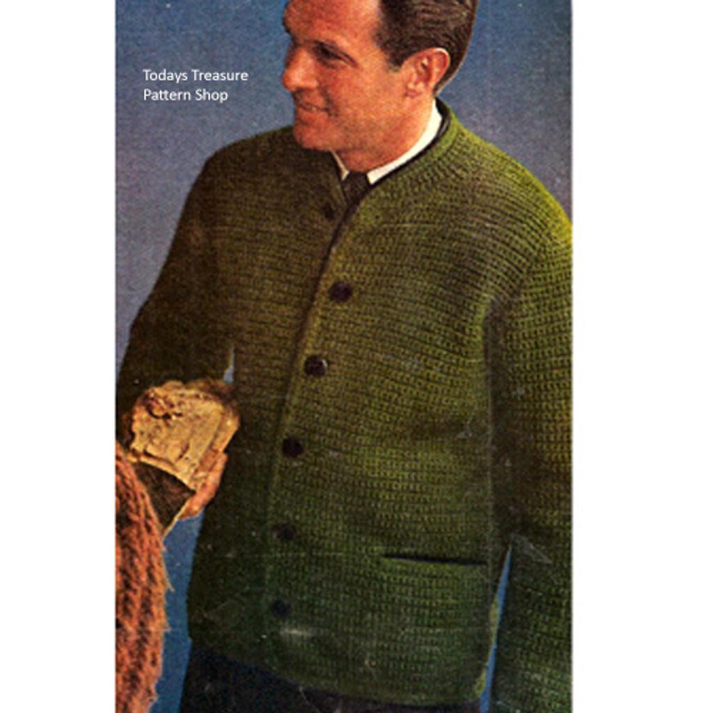 Mens Crochet Cardigan Sweater Jacket Pattern
