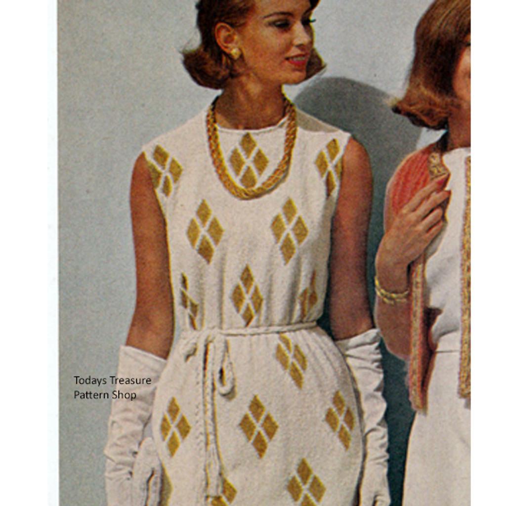 Sleeveless Dress Knitting Pattern with Diamond Motif