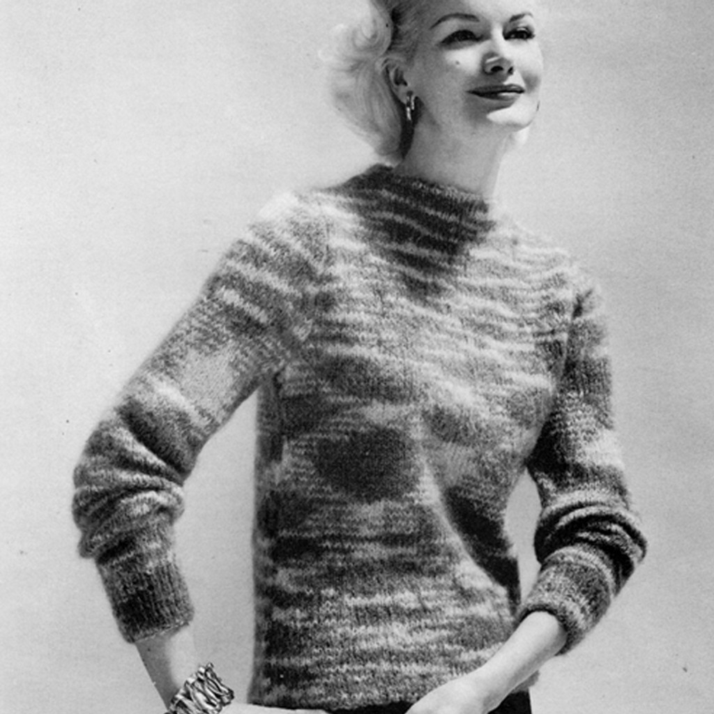 Boat Neck Sweater Knitting Pattern Vintage 1960
