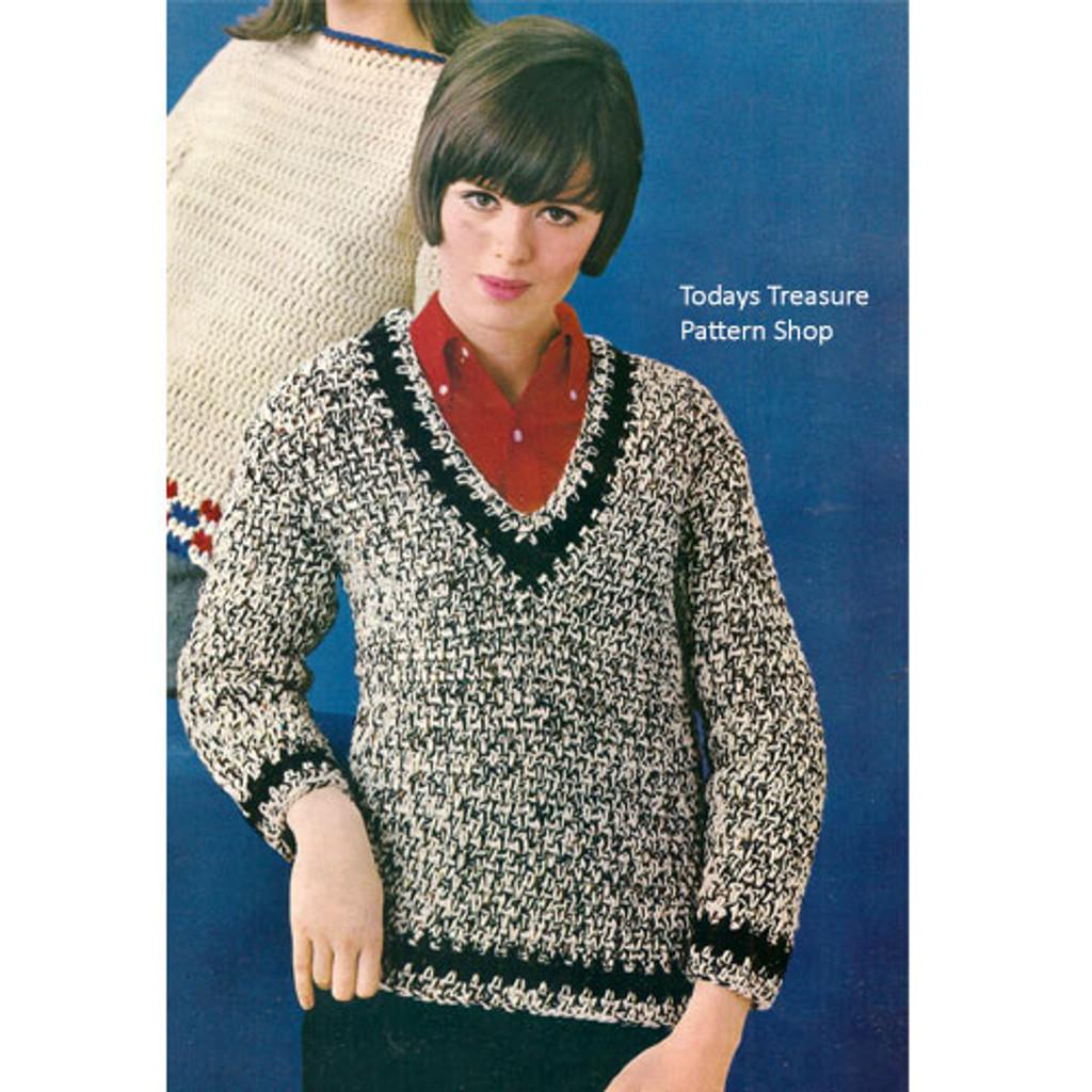 Tweed Pullover Sweater Crochet Pattern V Neckline Long Sleeves