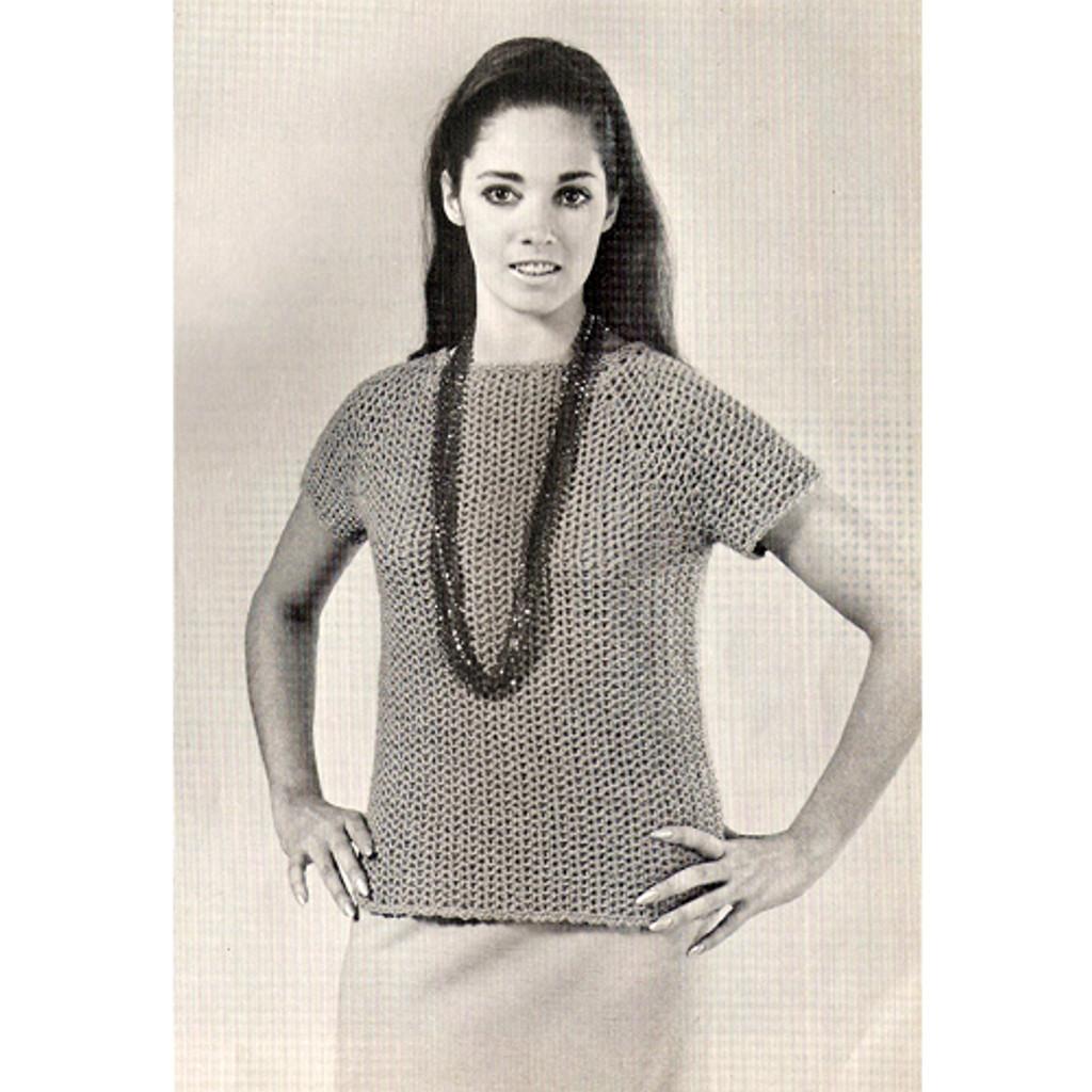 Easy Crochet Blouse Pattern, Vintage 1960s