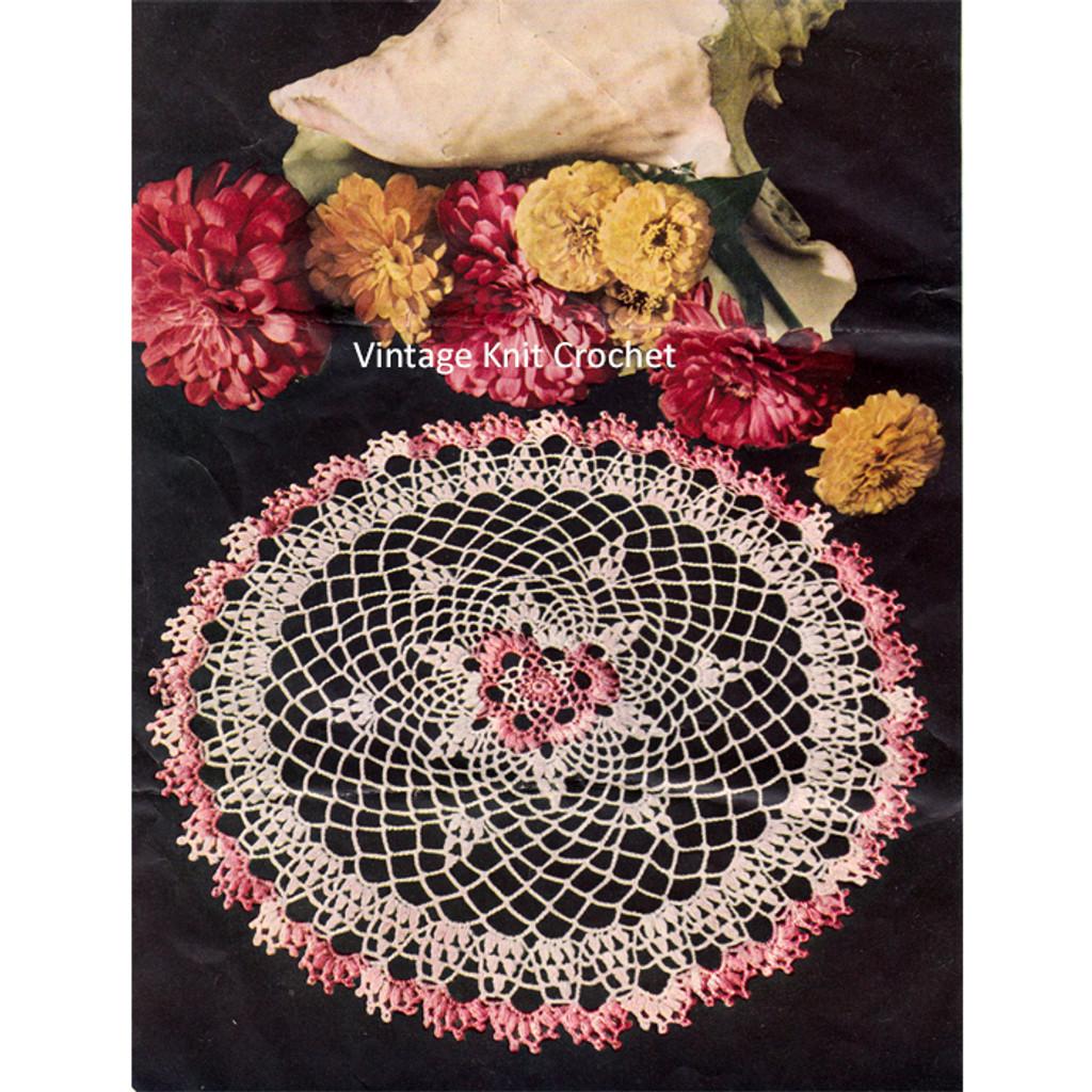 Shaded Pink Crochet Doily Pattern