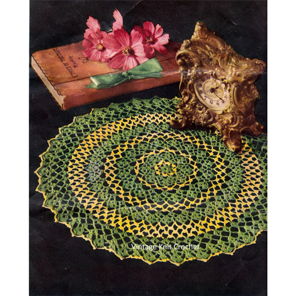 Vintage Two Color Crochet Doily Pattern