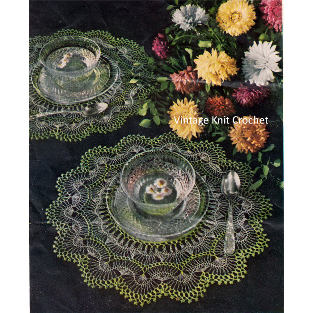 Vintage Crochet Hairpin Lace Doilies Pattern
