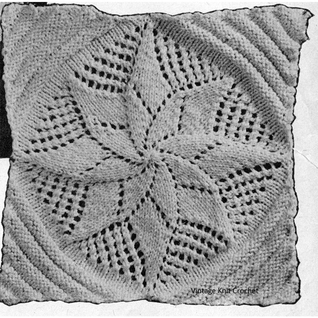 Knitted Pinwheel Square Pattern for Bedspreads