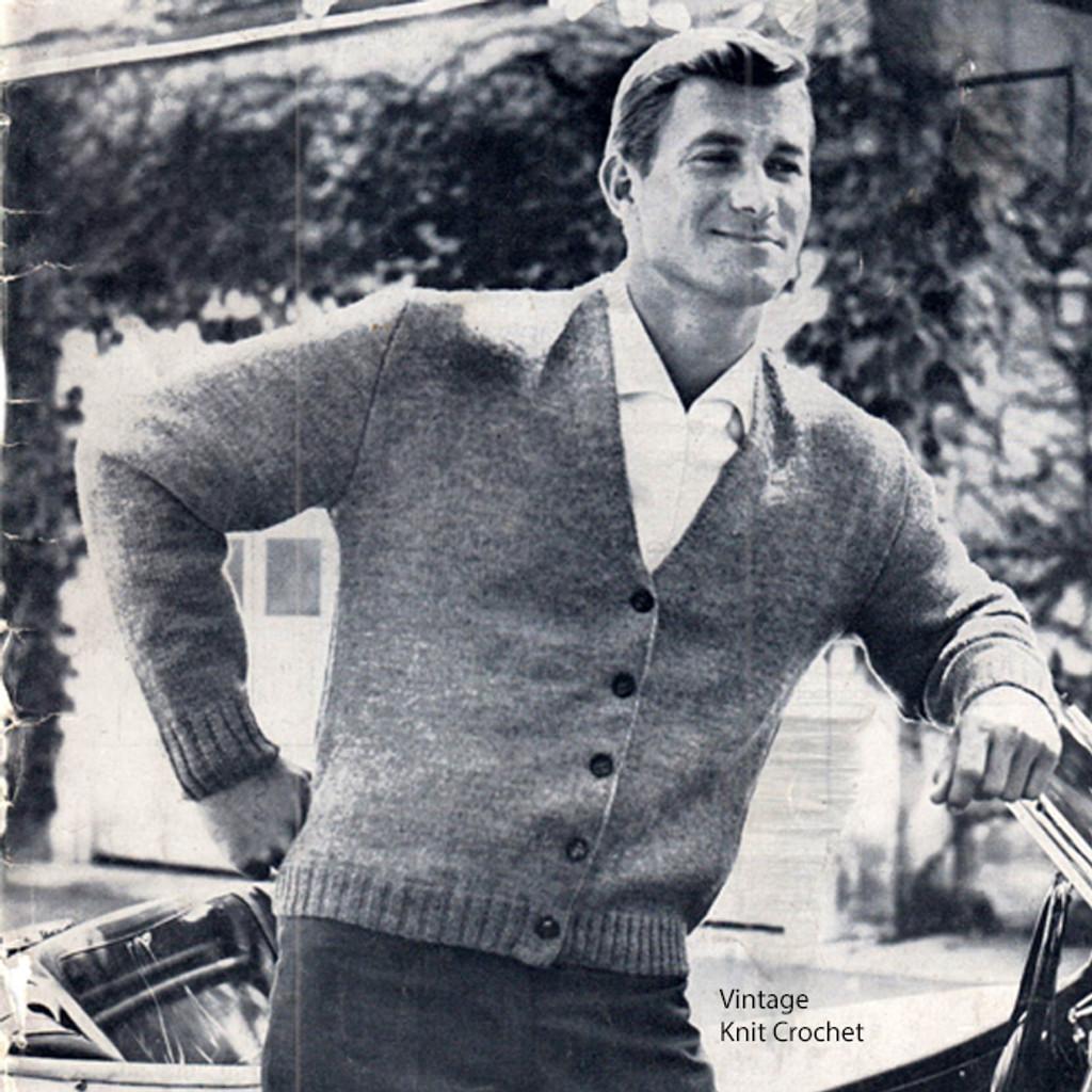 Vintage Mans V-Necked Cardigan Knitting Pattern