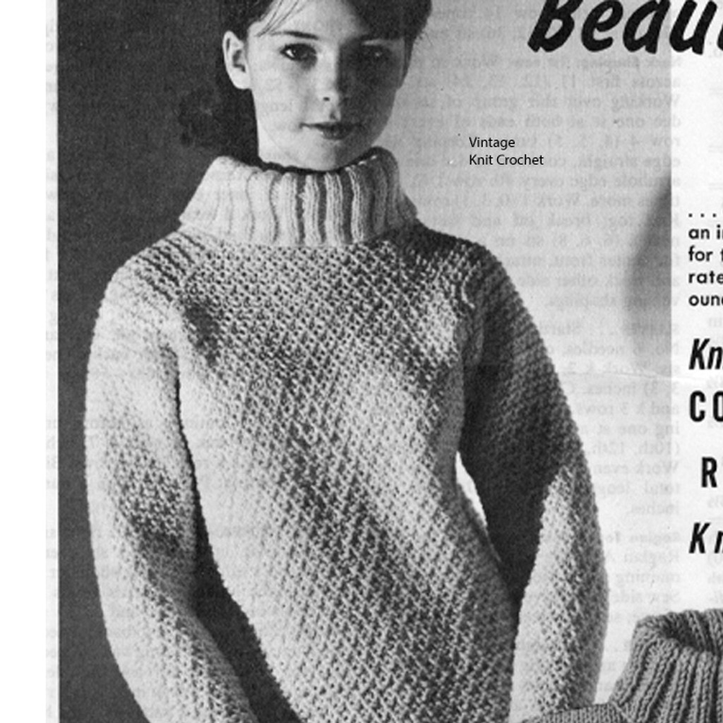 Knitting Pattern Cowl Neck Raglan Sweater