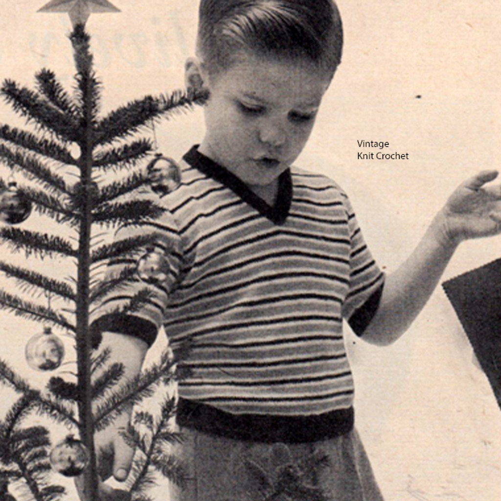 Childs Striped Pullover Knitting Pattern, Short Sleeves