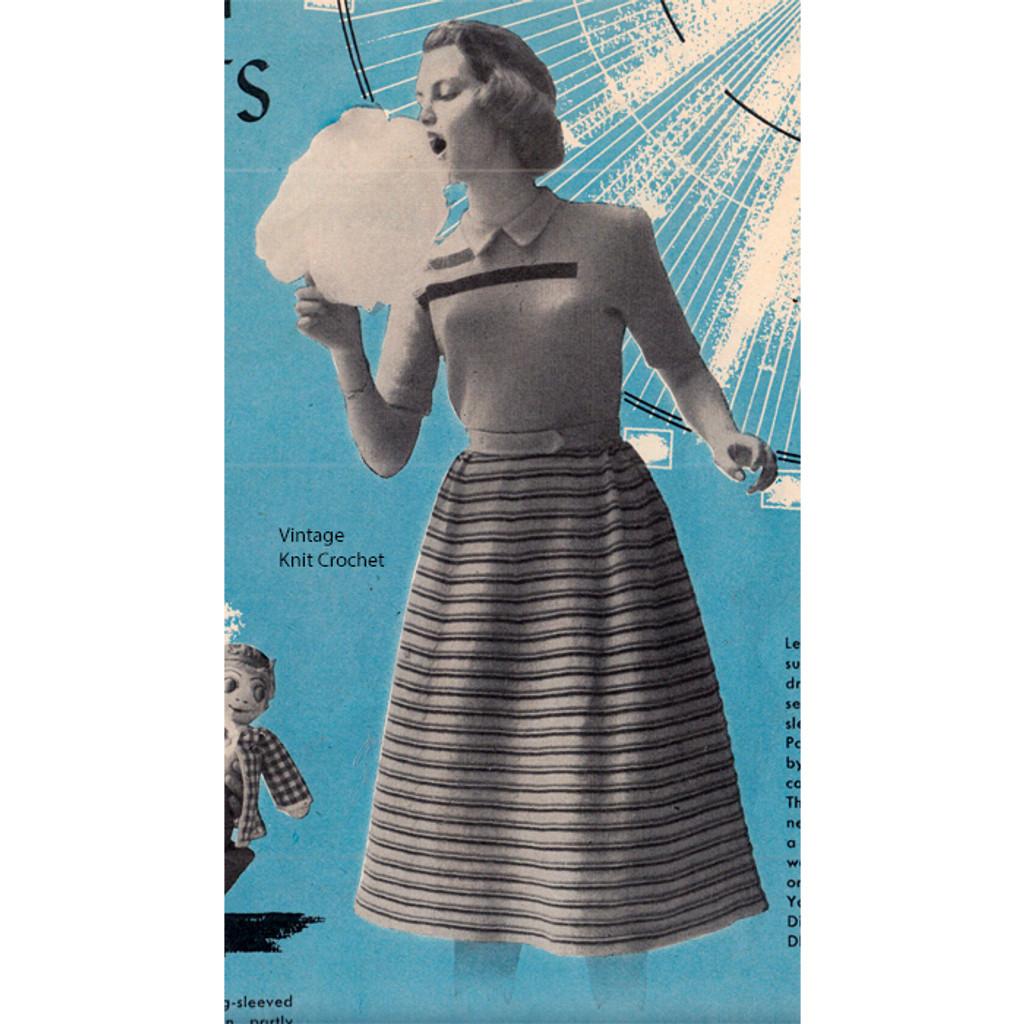 Girls Striped Dress Knitting Pattern, Short Sleeved