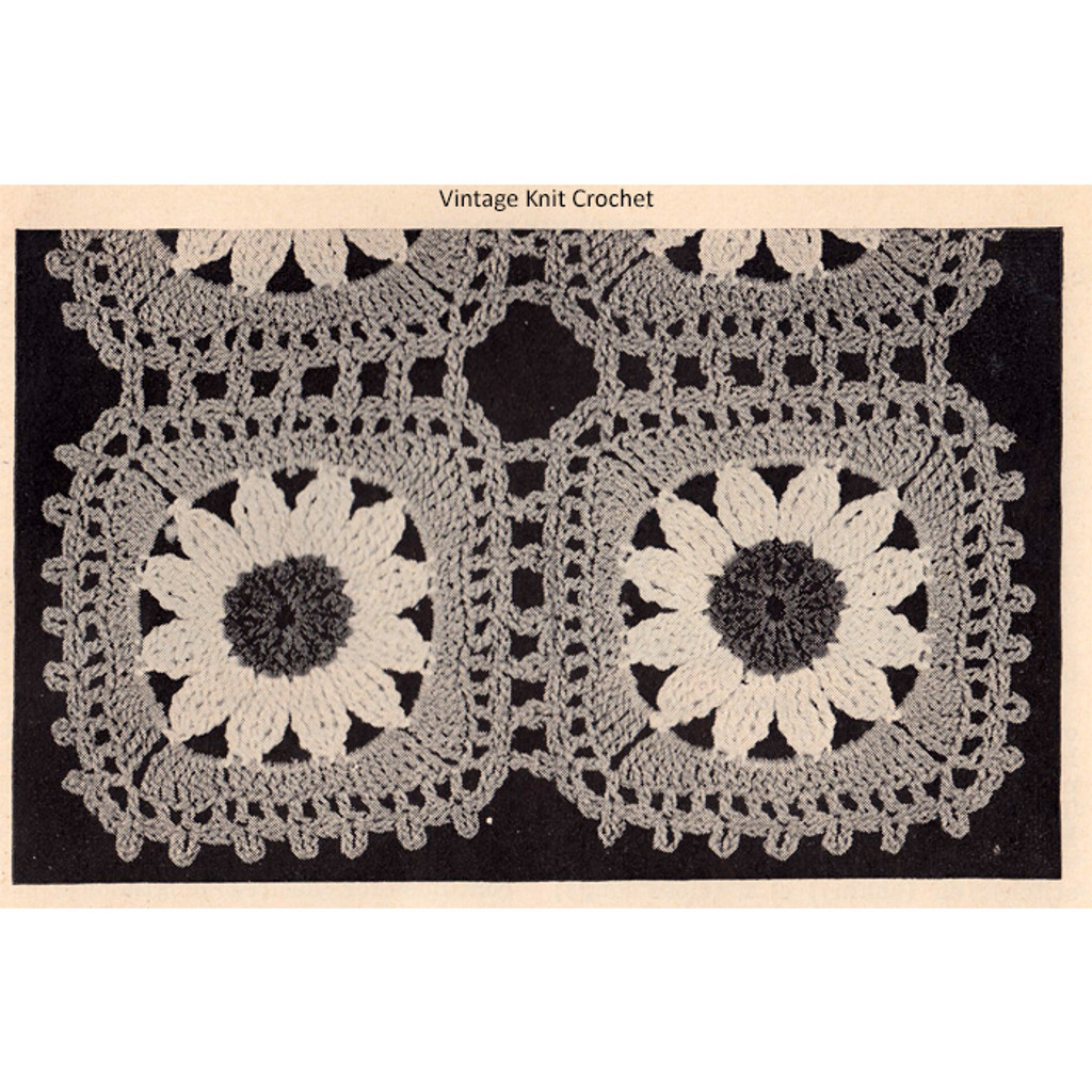 Vintage Crocheted Daisy Medallions for Runners Scarfs