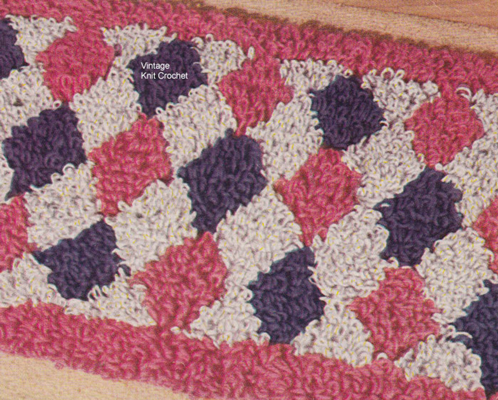 Crocheted Rug Pattern Harlequin Diamond Motif