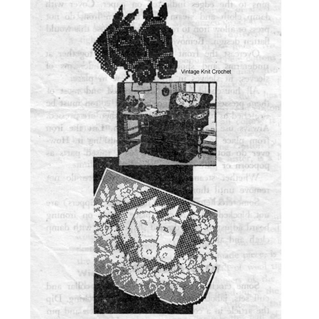 Horse Filet Crochet Doily Chair Set Pattern Mail Order 536
