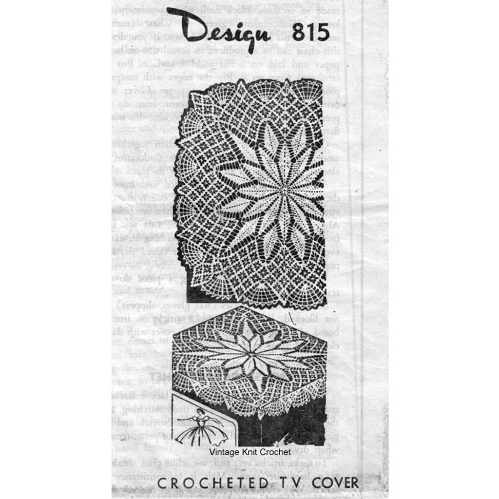 Crochet Spiderweb Square Centerpiece Doily Design 815 Vintage Knit