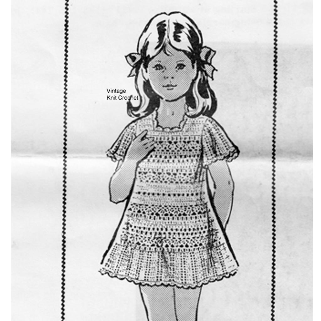 Girls Crocheted Bell Sleeve Dress, Mail Order 7282
