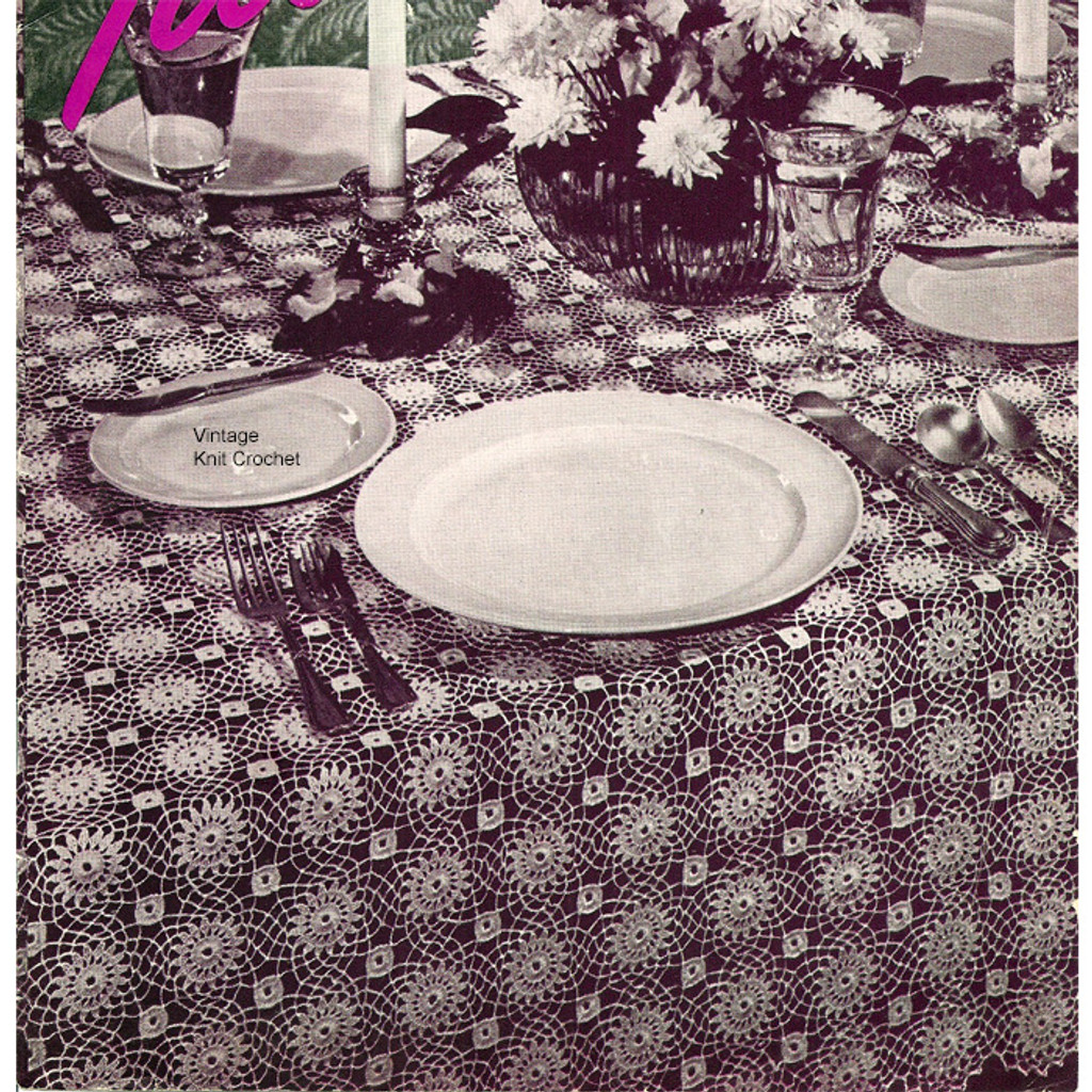 Vintage 1940 Crochet Tablecloth Pattern ...