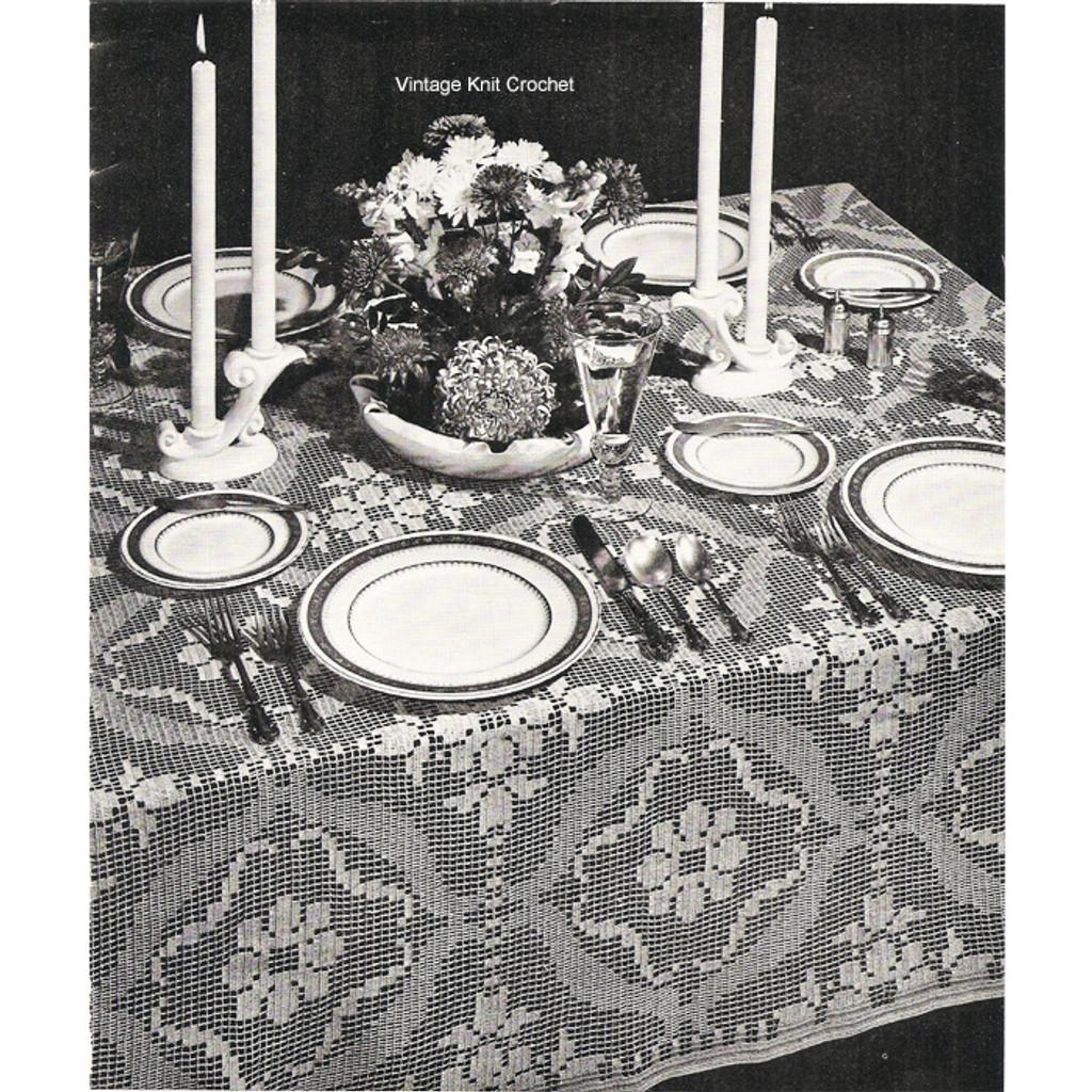 Filet Crochet Tablecloth Pattern Flower Blocks