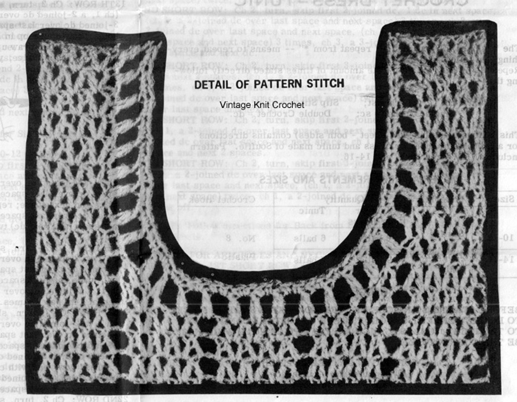 Crochet Dress Pattern Stitch Illustration