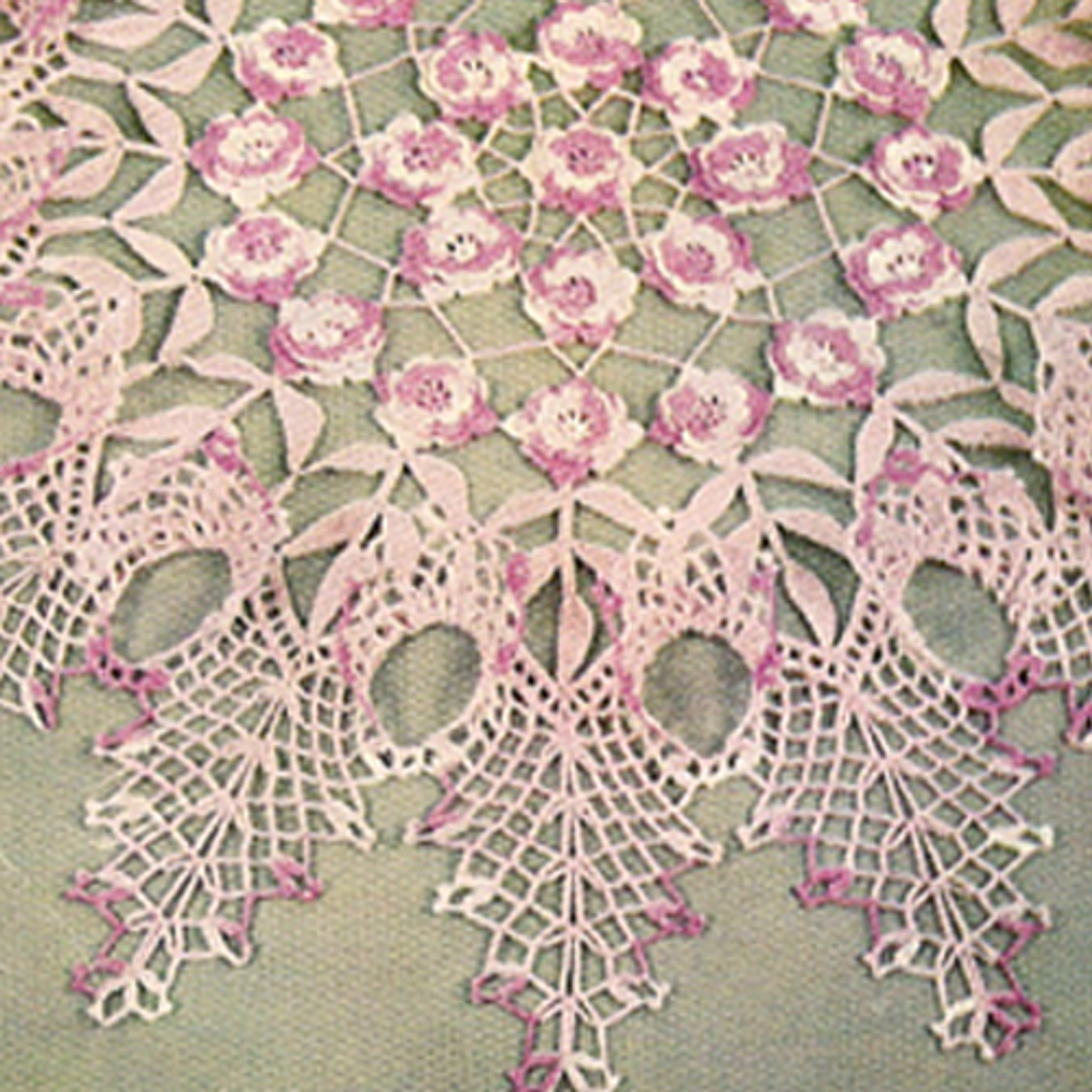 Vintage Rose Ruffled Centerpiece Crochet Doily Pattern