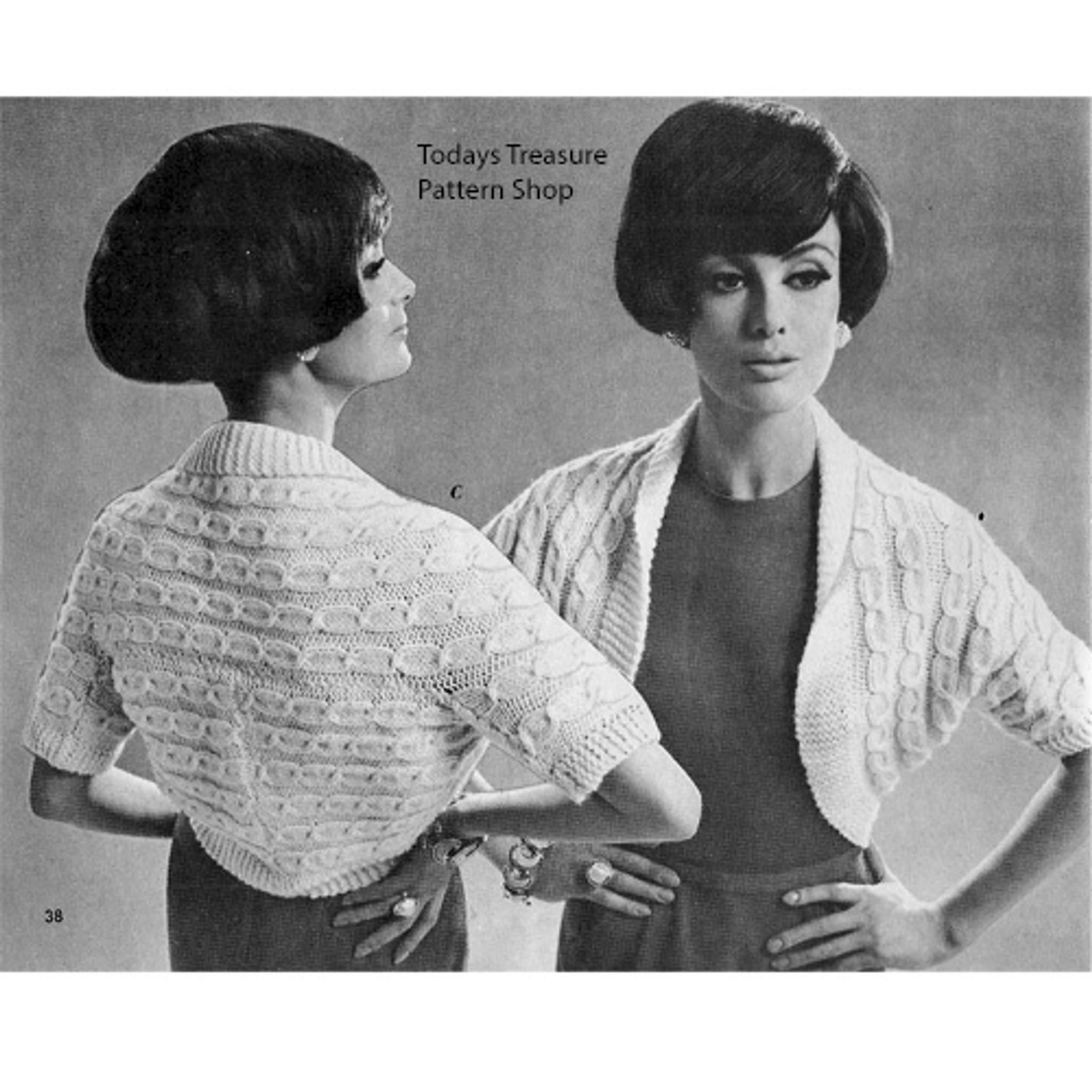 Misses Cable Knit Shrug Pattern, Classic Design
