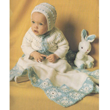 Two Color Knitted Baby Layette Pattern from Columbia Minerva