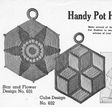 Star and Cube Crocheted Potholders Pattern, Vintage 1950s