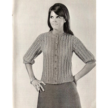 Easy Crochet Button Blouse Pattern with short sleeves