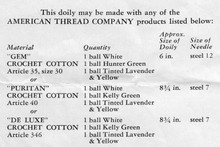 Pretty Doily Material Thread Requirements