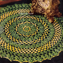 Pretty Crochet Doily Pattern in yellow and green from American Thread
