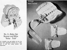Knitted Baby Bonnet Pattern with Mittens