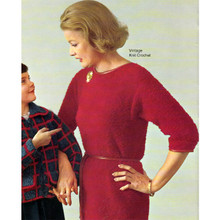 Knitted Mohair Dress Pattern with Dolman Sleeves