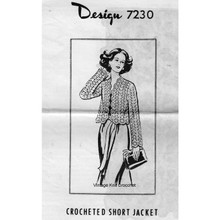 Crocheted Lace Jacket Pattern, Mail Order 7230