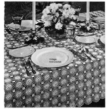 Flower Motif Crocheted Tablecloth Pattern, Vintage 1940s