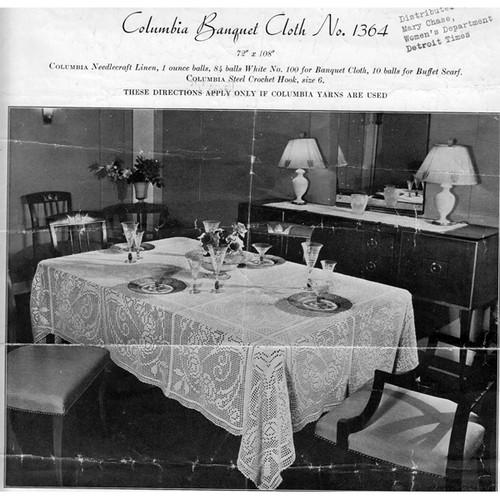 Flower Banquet Filet Crocheted Tablecloth Pattern
