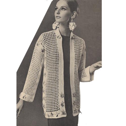 Filet Crocheted Net Jacket Pattern