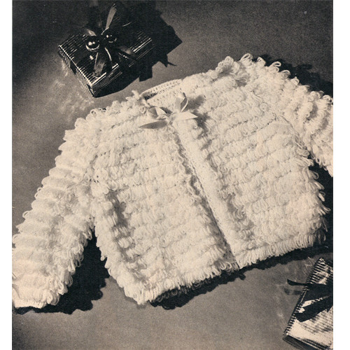 Infant Knitted Jacket Pattern in Loop Stitch