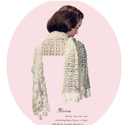 Hairpin Lace Crocheted Stole Pattern Illusion