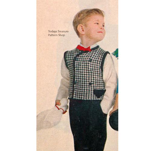 Boys Vintage Checked Vest Pattern