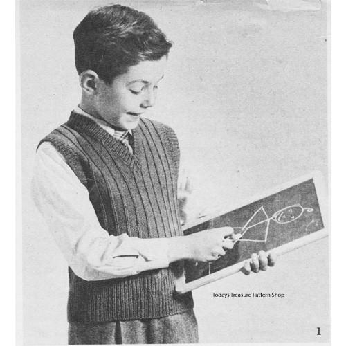 Boys Vintage Ribbed Pullover Pattern